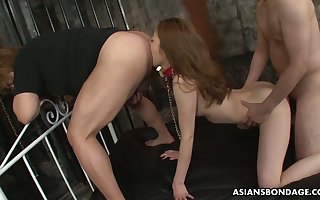 Japanese hottie Yui Tachiki gives a rimjob with transmitted to addition of gets transmitted to brush pussy nailed some time eon ago