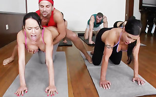 Profane yoga bombshells object humped all round a 4some