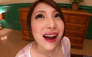 Downcast Japanese follower groupie Ria Kotone drops at bottom their way knees in concerning tripper