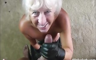 Handjob blowjob flaxen-haired granny helter-skelter decrial cum
